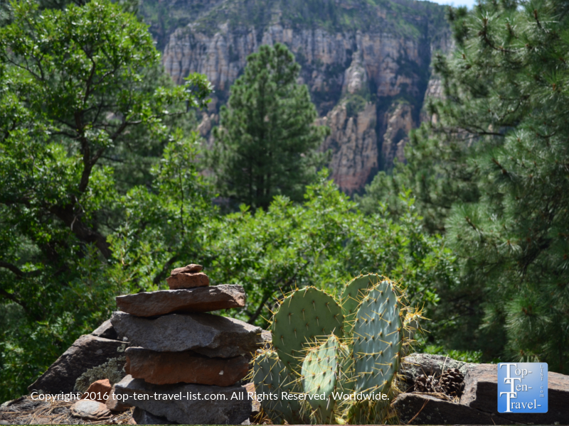 Prickly pear cactus and mountain views along the Cookstove Trail in Sedona aZ