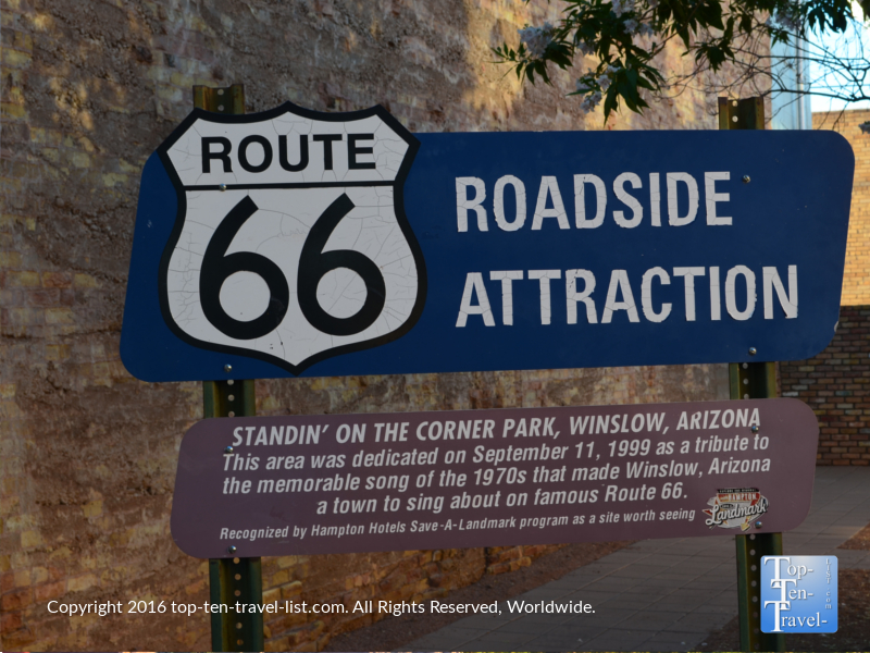 Route 66 sign in Winslow AZ