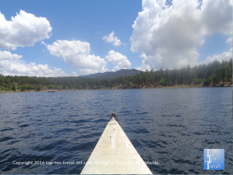 Scenic summer views while kayaking Lynx Lake in Prescott AZ