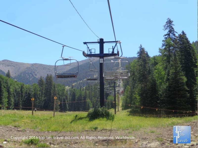 The scenic summer Snowbowl Chairlift ride in Flagstaff Arizona