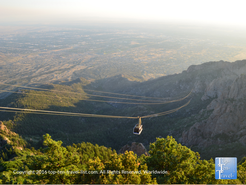 View of Sandia peak tram going down
