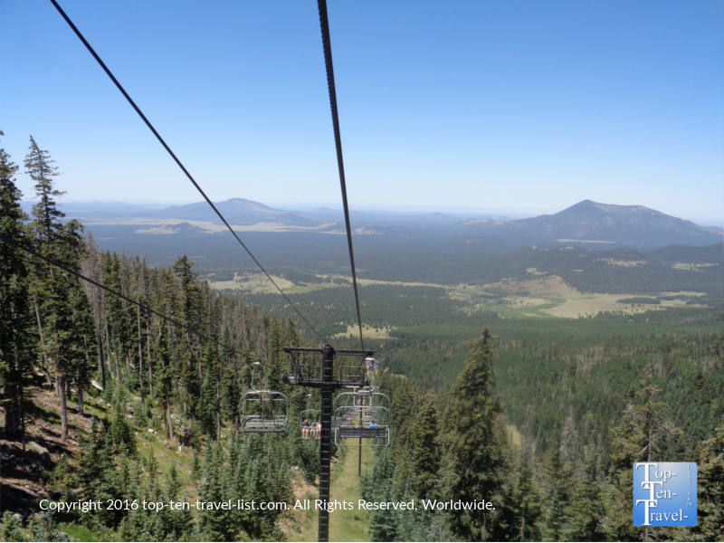 Views of the mountains from the AZ Snowbowl scenic chairlift ride in Flagstaff, Arizona