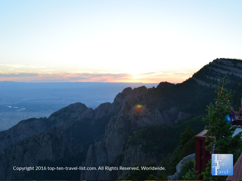 Watching a beautiful sunset from the Sandia Peak observation deck in Albuquerque NM