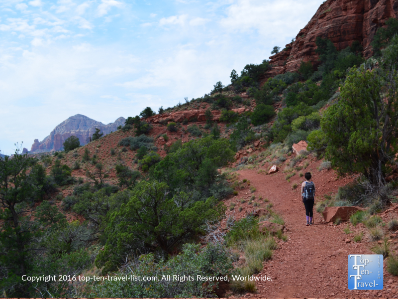 A view o an uphill portion of the Jim Thompson Trail in Sedona AZ