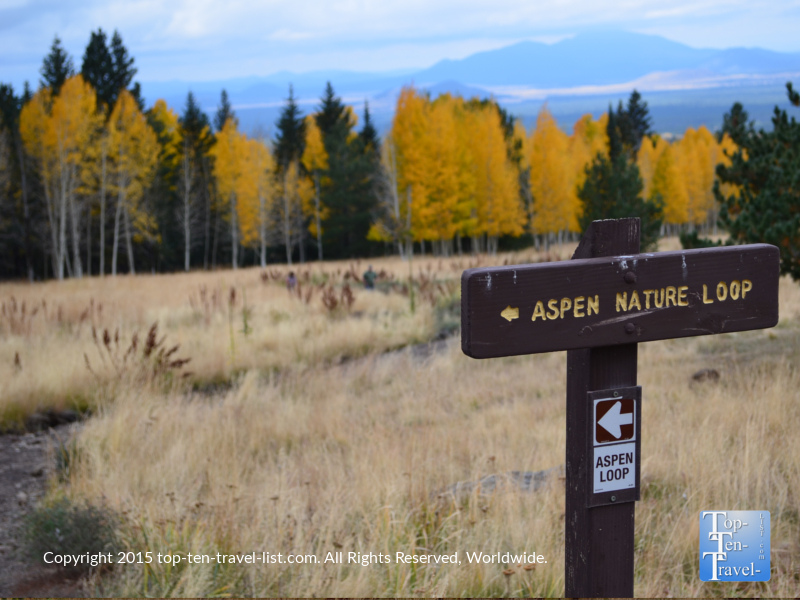 Aspen Nature Loop trail sign in Flagstaff