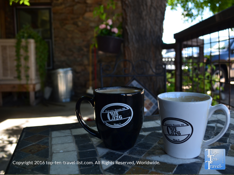 A relaxing mocha and Americano in the outdoor garden patio of Cafe 326.