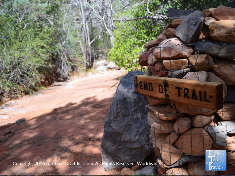 End of Wilson Canyon trail sign in Sedona AZ