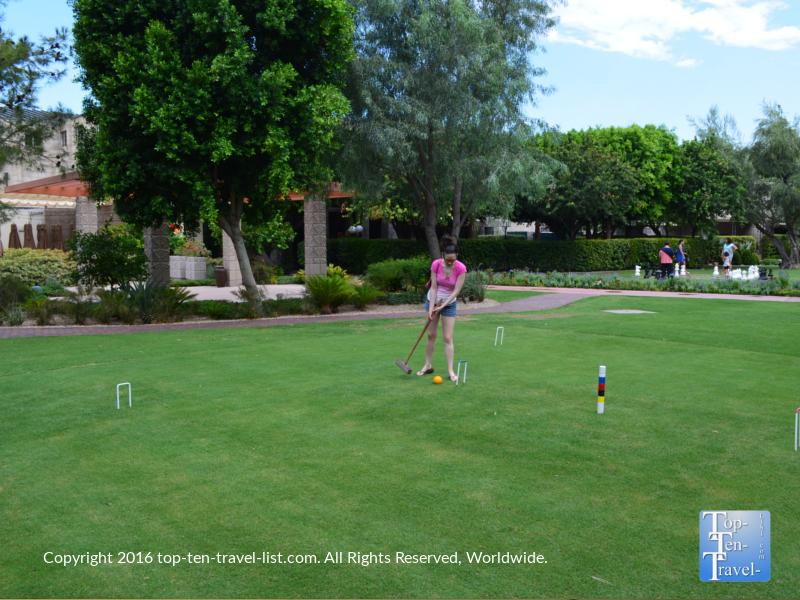 Playing croquet at the Arizona Bitmore in Phoenix