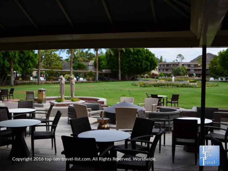Pretty outdoor bar seating at the Arizona Bitmore in Phoenix
