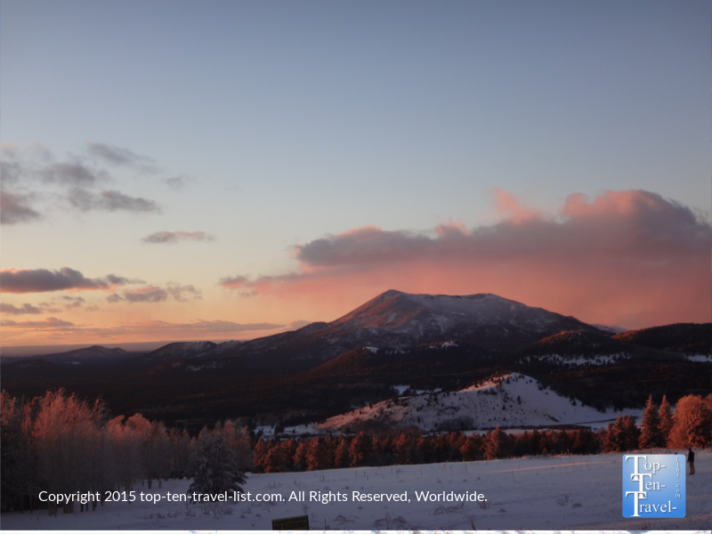A beautiful winter sunset in Flagstaff, Arizona at Snowbowl