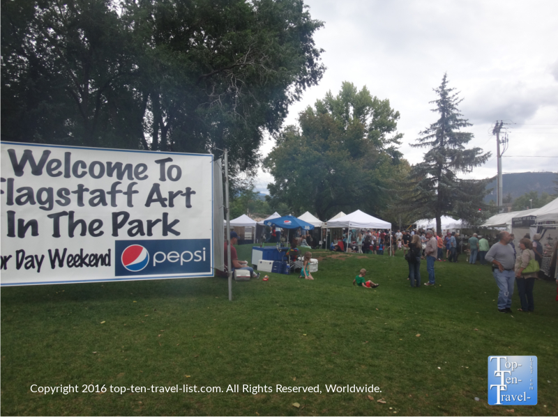 The annual Art in the Park event in downtown Flagstaff, Arizona