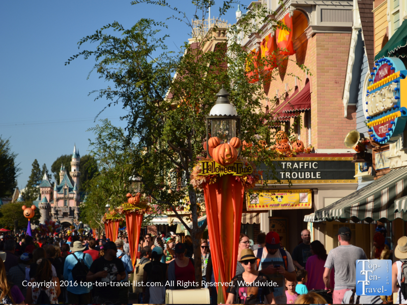 Disneyland Main Street decorated for Halloween - Mickey's Not So Scary Halloween Party