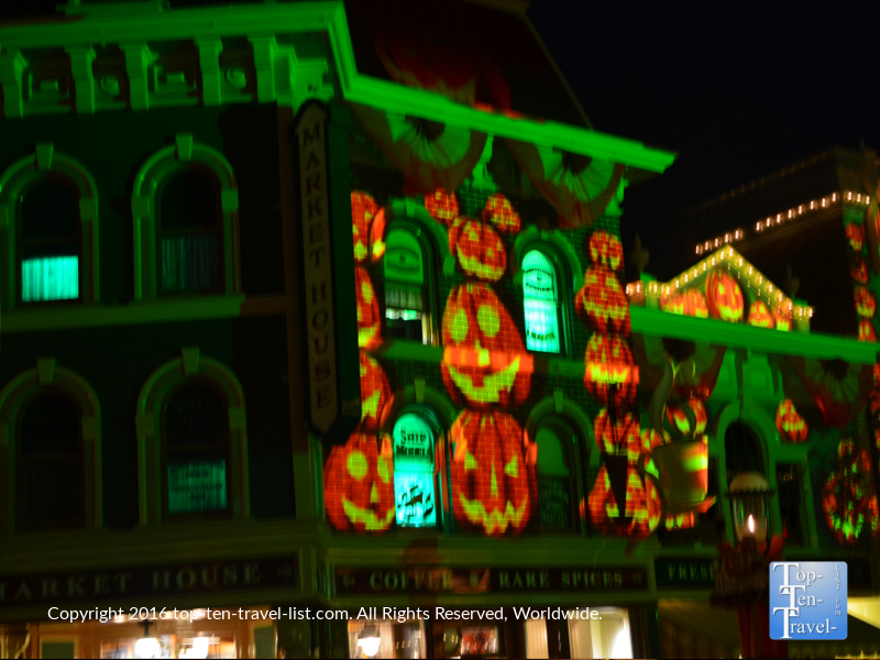 Halloween decor on Main Street - Mickey's Not So Scary Halloween Party at Disneyland