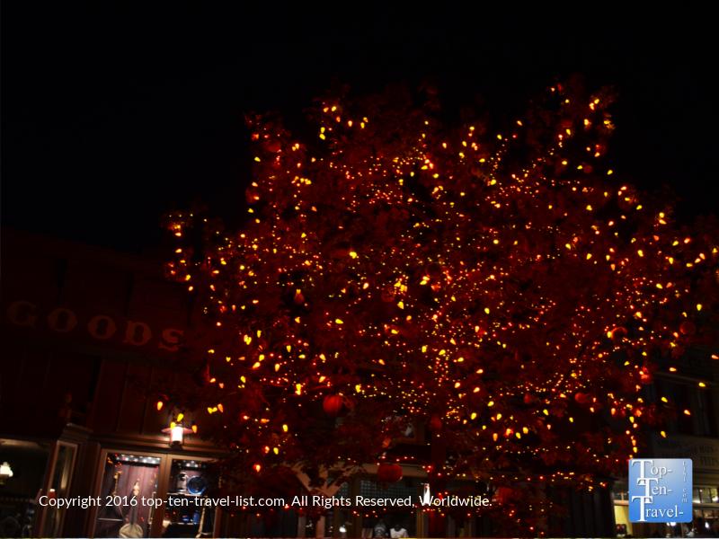 Halloween tree lights at Mickey's Not So Scary Halloween Party at Disneyland