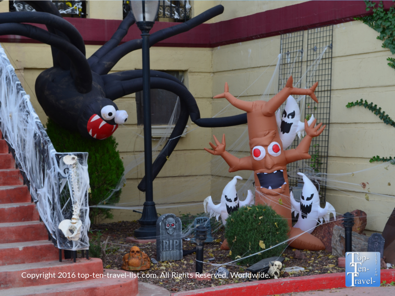 Halloween decor in front of the Jerome Grand Hotel