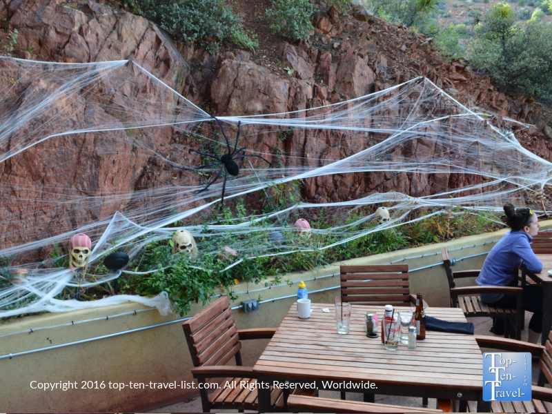 Halloween decor on the patio of The Asylum Restaurant in Jerome, Arizona