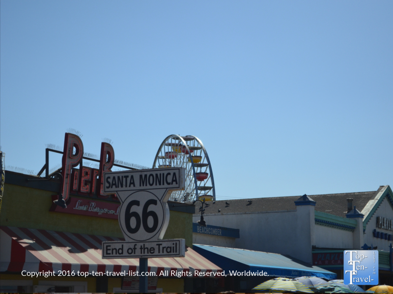 The end of Route 66 sign at the Santa Monica Pier in L.A.
