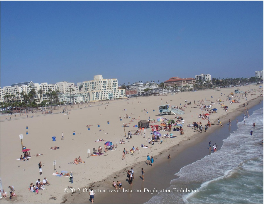 Views of the beach from the Santa Monica Pier rollercoaster
