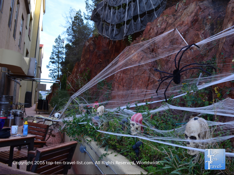 Spooky Halloween decor at the Jerome Grand Hotel