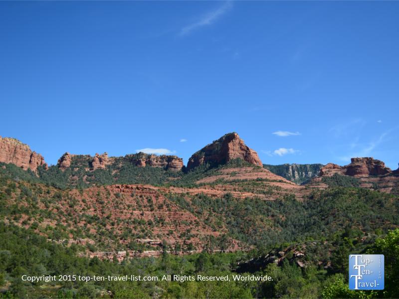 Beautiful red rock views along Oak Creek Canyon Scenic Drive near Sedona, Arizona