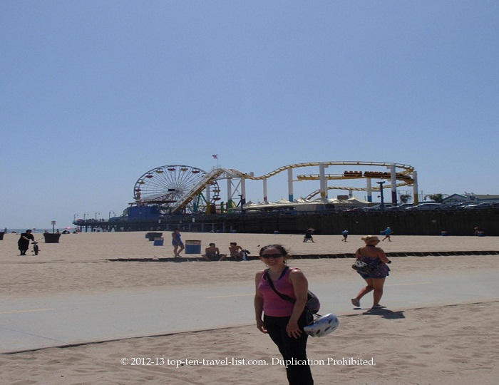 The Strand bike path going past the historic Santa Monica Pier