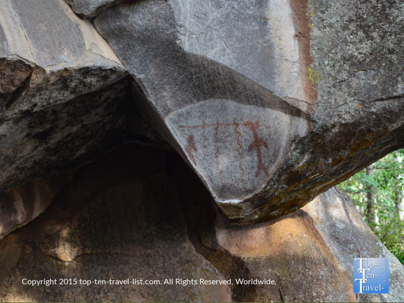 Ancient pictographs along the Veit Springs trail in Flagstaff, Arizona
