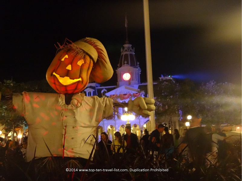 Scarecrow decor at Mickey's Not So Scary Halloween Party at Walt Disney World in Orlando, Florida