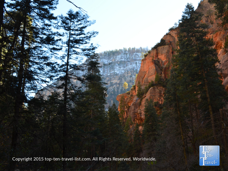 Snow on the mountains seen from the West Fork hiking trail in Oak Creek Canyon