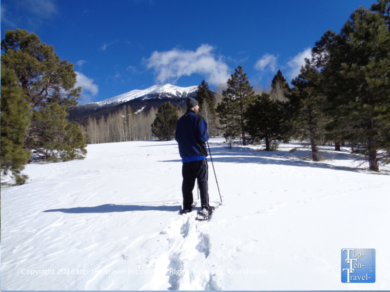 Snowshoeing is a fantastic winter alternative to hiking. It burns a lot of calories and gets you outside even on the coldest of days. Flagstaff offers a variety of easy trails for snowshoeing, including the gorgeous Snowbowl trails.