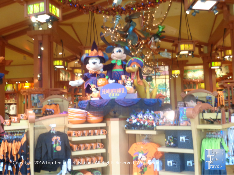 Halloween decor at the World of Disney Store