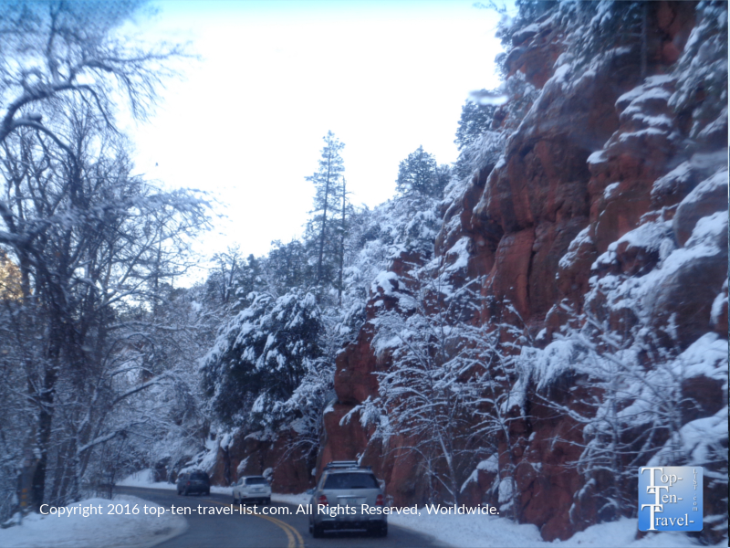 A snowy winter drive along Oak Creek Canyon in Sedona, Arizona