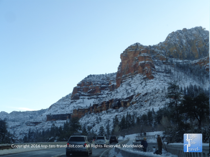 Snow along Oak Creek Canyon scenic drive in Sedona