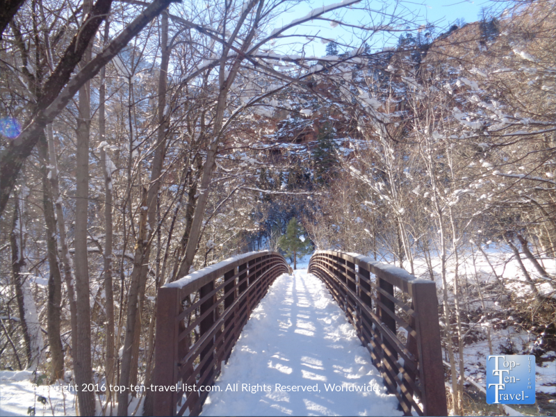 Bridge to the West Fork trail in the winter