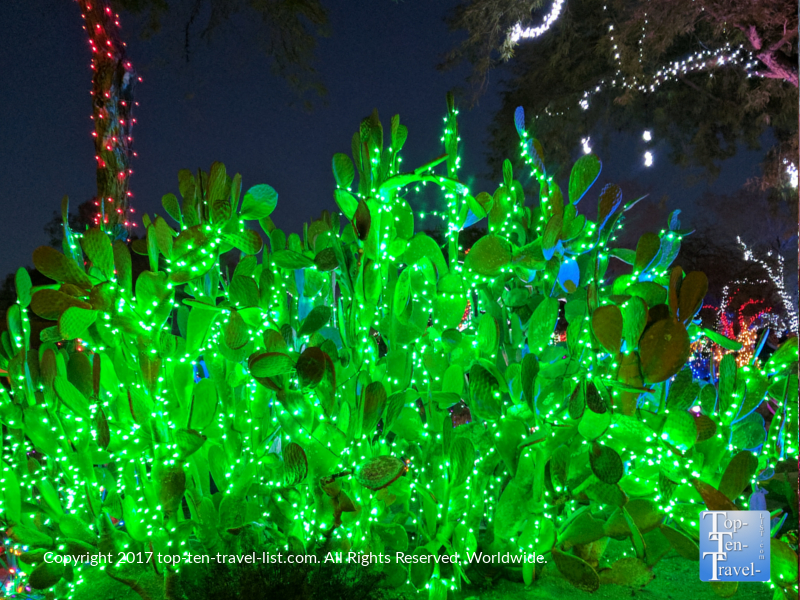 Bright green cactus lights at Ethel M Chocolates in Henderson NV