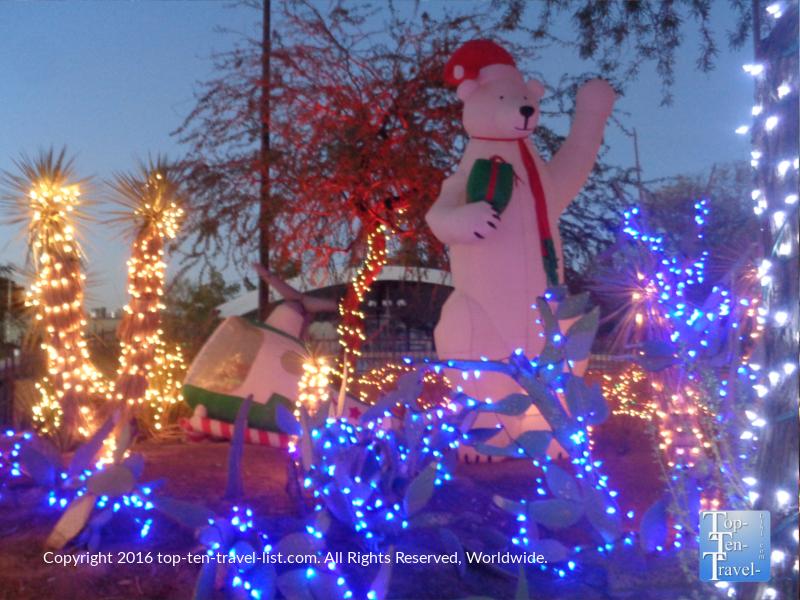 Cute bear display at Ethel M Chocolates holiday lights