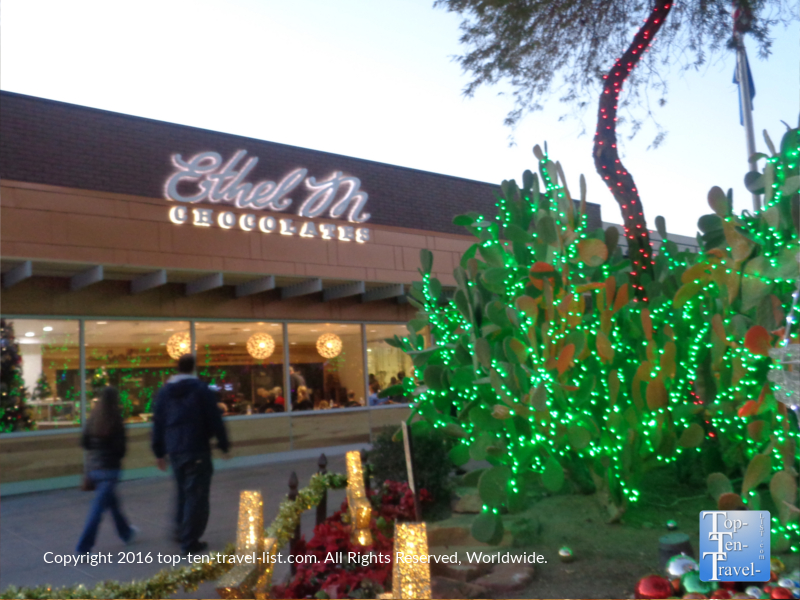 Ethel M Chocolate Factory in Henderson Nevada holiday lights