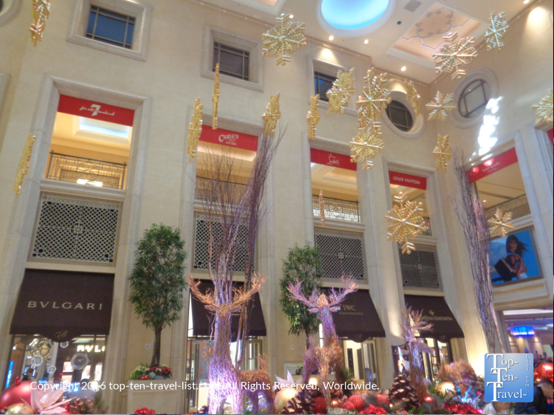 Reindeer holiday display and snowflakes at the Palazzo in Las Vegas, Nevada