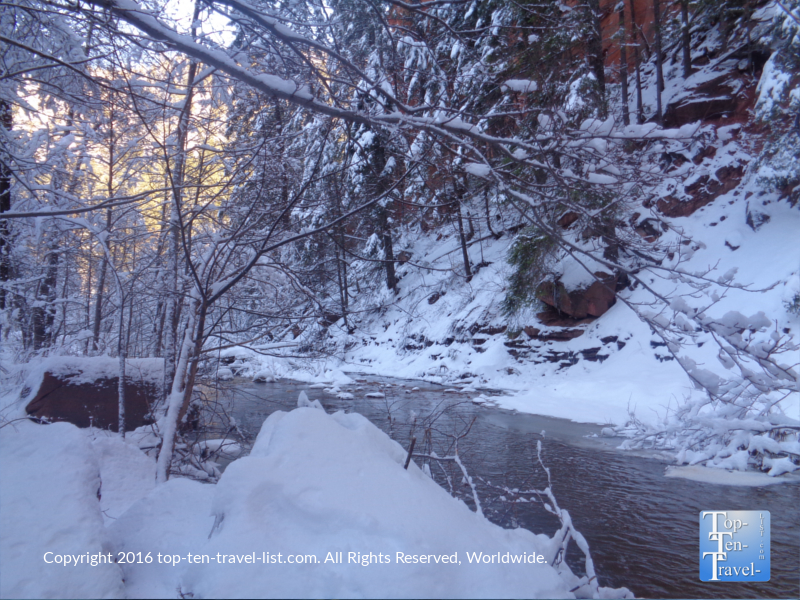 Winter walk along the West Fork trail in Sedona, Arizona