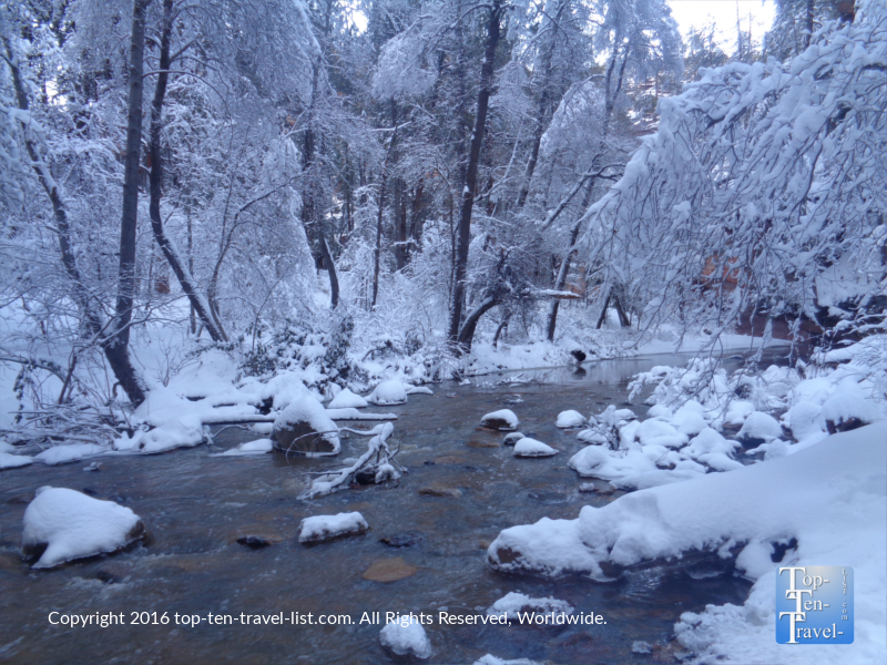 Peaceful winter creek views along the West Fork Trail in Sedona