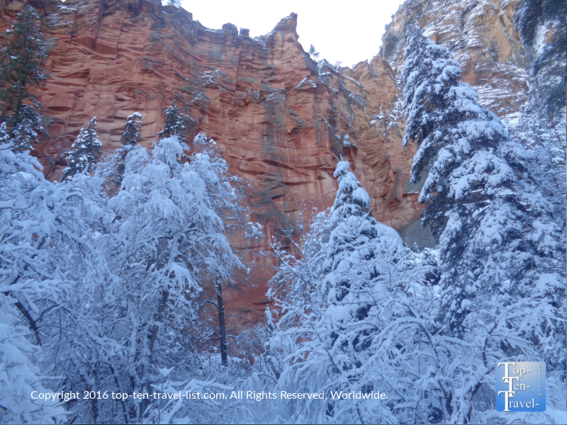 Red rocks and snow along the Sedona West Fork Trail
