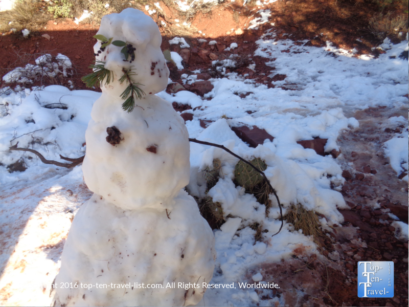 Snowman in the desert of Sedona