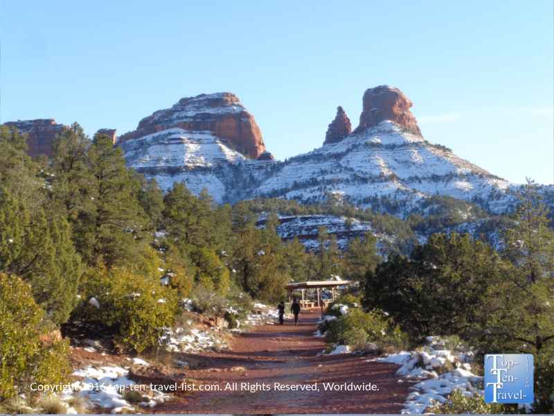 Snowy views on the Huckaby Trail in Sedona, Arizona