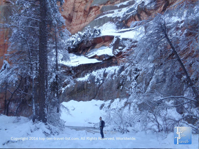 Standing amongst Sedona's gorgeous red rocks in the winter along the West Fork trail