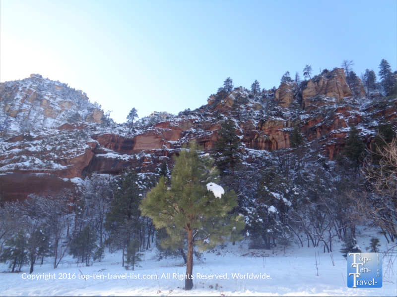 Red rocks of Sedona topped with snow after a Christmas storm