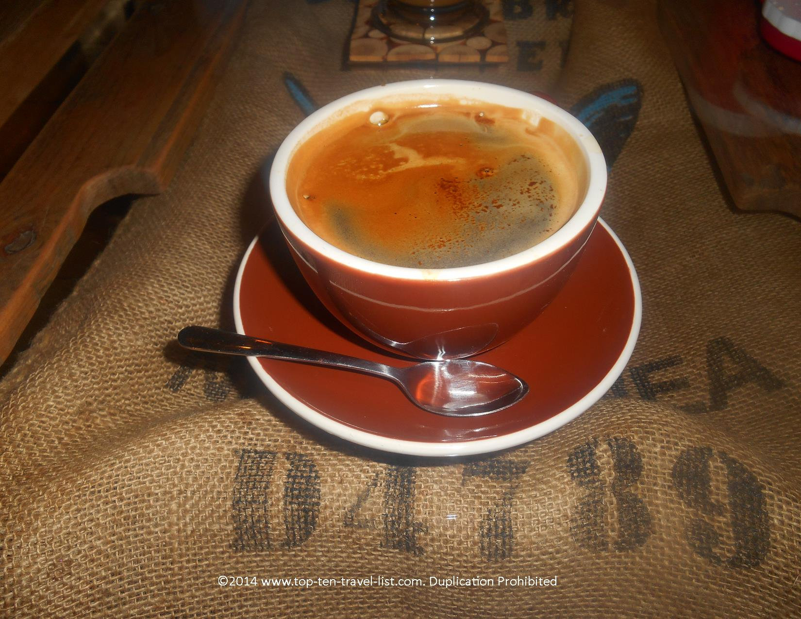 Americano at Eco Beans Coffee Shop in Tarpon Springs, Florida