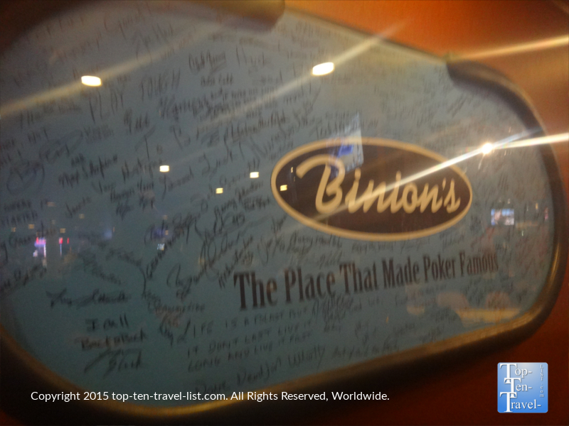 Signed World Series of Poker table at Binion's on Fremont Street in Las Vegas