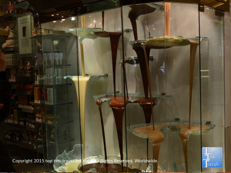 World's tallest chocolate fountain at the Bellagio in Las Vegas, Nevada