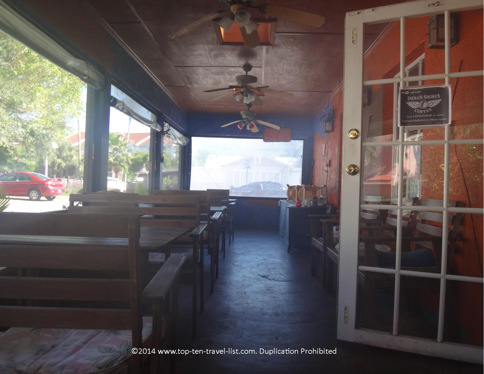 Breezy outdoor patio at Indian Shores Coffee Company in Indian Rocks Beach, Florida