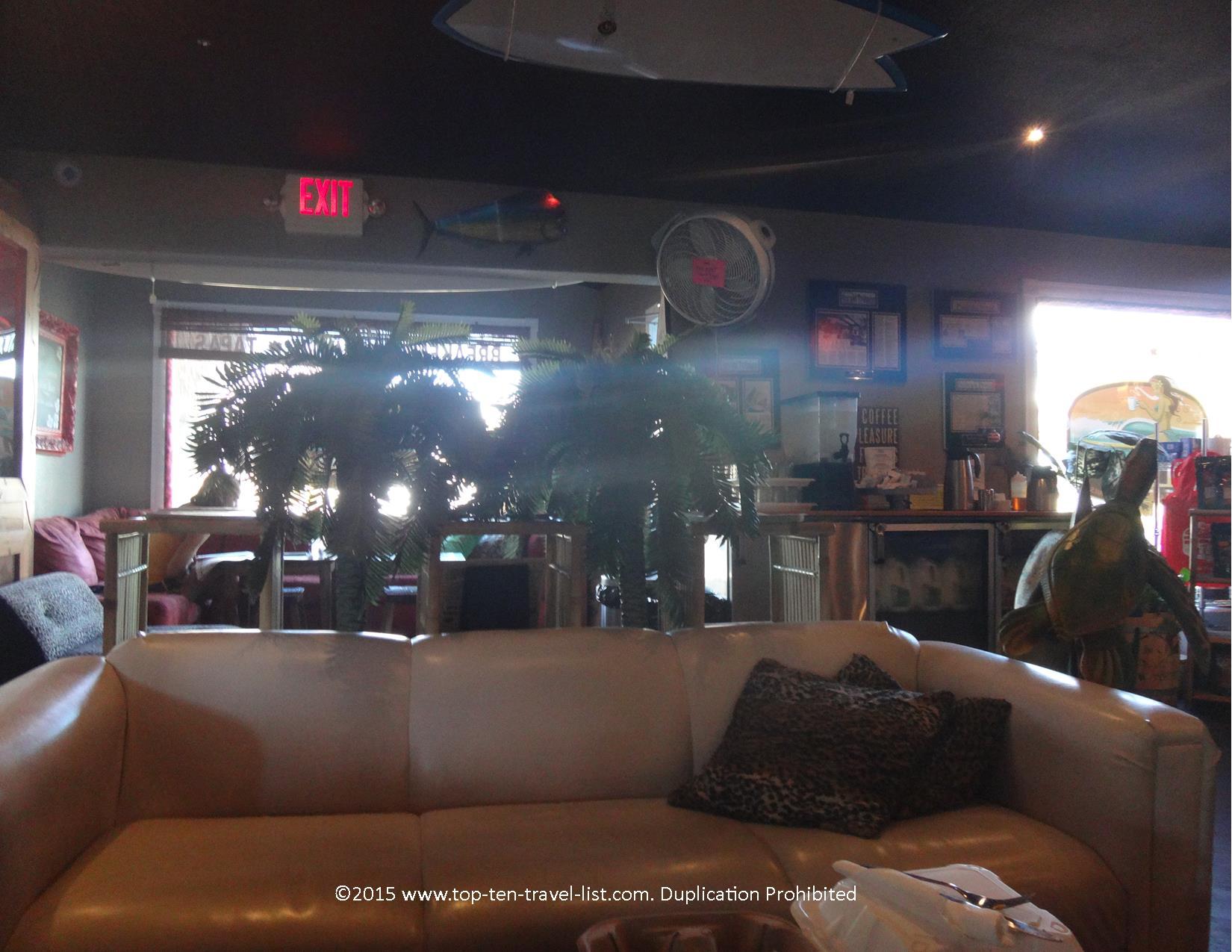 Relaxed vibe of the Lelu Coffee Lounge in Siesta Key, Florida