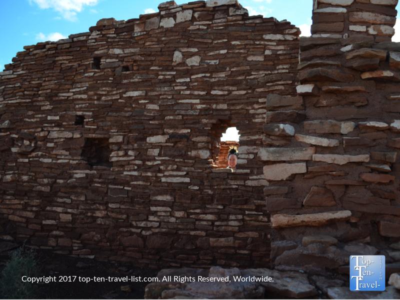 Exploring Lomaki pueblo ruins